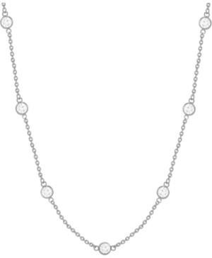 """Essentials Cubic Zirconia Bezel Station 18"""" Statement Necklace in Fine Silver or Gold Plate"""