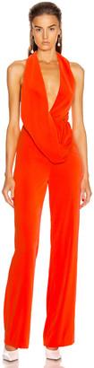 Area Draped Cowl Jumpsuit in Orange | FWRD