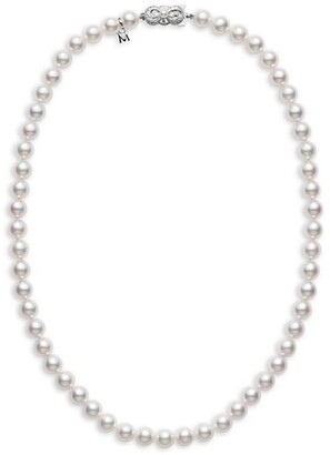 Mikimoto Essential Elements 18K White Gold & 6.5MM White Cultured Akoya Pearl Strand Necklace