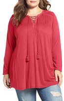 Lucky Brand Lace Front Peasant Top (Plus Size)
