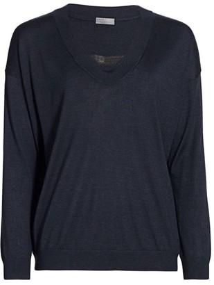 Brunello Cucinelli Relaxed Cashmere & Silk Monili V-Neck Sweater