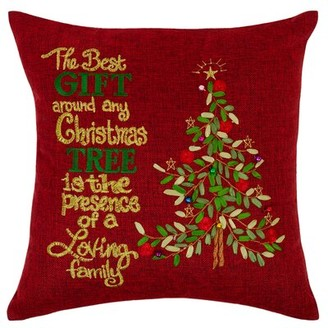 Violet Linen Seasonal Bells Christmas Gift Tree Pillow Cover