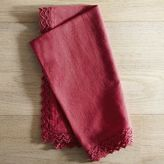 Pier 1 Imports Lace Trim Berry Red Chambray Napkin