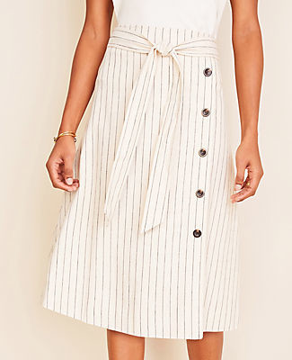 Ann Taylor Striped Button Trim Tie Waist Midi Skirt