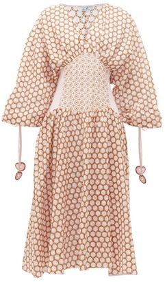 My Beachy Side - Ruched-sleeve Broderie-anglaise Cotton Midi Dress - Womens - Light Pink