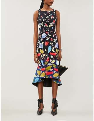 Peter Pilotto Floral-print strapless woven midi dress