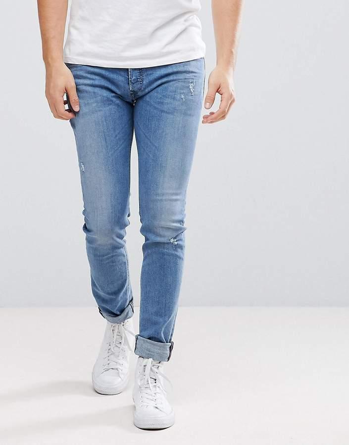 Diesel Sleenker Jeans in Lightwash with ABRASIONS