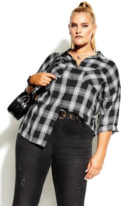 City Chic Youth Check Shirt - black