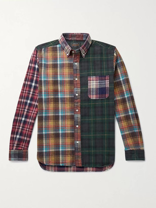 Beams Button-Down Collar Checked Patchwork Cotton-Flannel Shirt