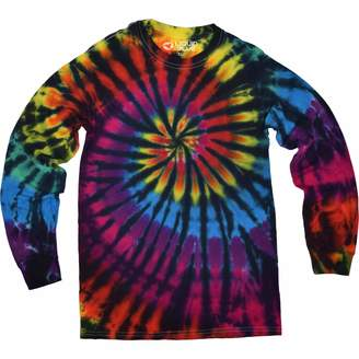 Liquid Blue Unisex-Adult's Rainbow Spiral Streak Tie Dye Long Sleeve T-Shirt Large