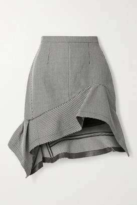 Alexander Wang Asymmetric Ruffled Leather-trimmed Houndstooth Wool-blend Mini Skirt - Black