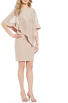R & M Richards Petite Sequin Lace Asymmetrical Cape Dress