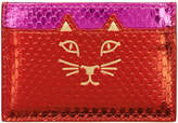 Charlotte Olympia Red and Pink Snake Feline Cardholder