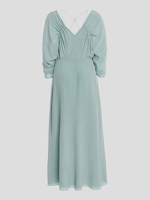 Victoria Beckham Ruched Sleeve V-Neck Midi Dress
