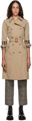 R 13 Khaki Three-Quarter Sleeve Trench Coat