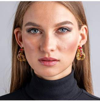 Kenneth Jay Lane Antique Gold, Ruby And Topaz Snake Hoop Clip Earrings