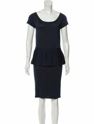 ZAC Zac Posen Scoop Neck Mini Dress Blue