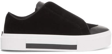 Alexander McQueen Velvet And Leather Exaggerated-sole Sneakers - Black