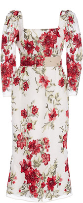 Marchesa Floral-Printed Belted Silk Dress