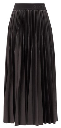 Givenchy Logo-waist Pleated-faille Midi Skirt - Black