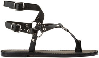 La Redoute Collections Leather Flat Sandals with Ankle Straps