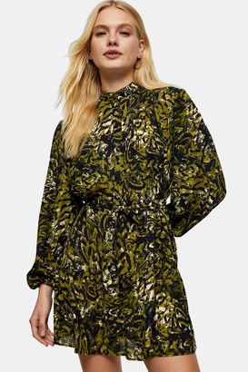 Topshop Green Leopard Print Frill Shirt Dress