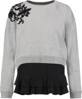 Derek Lam 10 Crosby Lace-paneled cotton-jersey sweatshirt and silk-crepe top set
