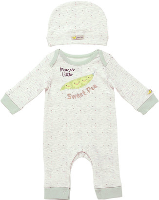 Baby Starters Rompers Ivory - Ivory 'Mama's Little Sweet Pea' Playsuit & Beanie - Newborn & Infant