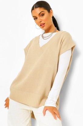 boohoo Oversized Dip Hem Knitted vest Top