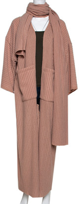 Atelier Nuna Taupe Rib Stretch Knit Two Pocket Open Front Abaya and Scarf Set