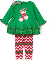 Good Lad Green & Red Stocking Top & Leggings - Infant Toddler & Girls