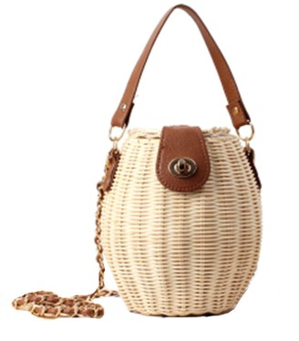 Goodnight Macaroon 'Winnie' Rattan Bucket Bag with Top Handle (3 Colors)
