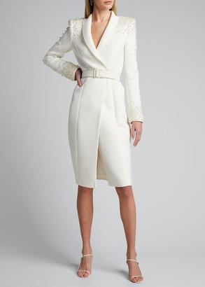 Badgley Mischka Embellished Long-Sleeve Scuba Coat Dress