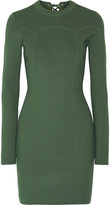3.1 Phillip Lim Lace-up Ribbed Stretch-knit Mini Dress - Army green