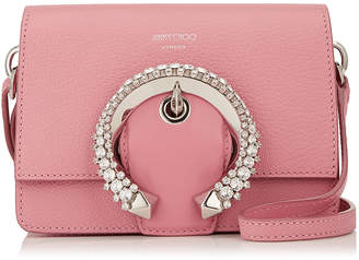 Jimmy Choo MADELINE SHOULDER BAG/S Candyfloss Goat Calf Leather Shoulder Bag with Crystal Buckle