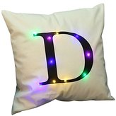 """KSBRO Stuffed Plush Cushion Case Throw Pillowcases LED Lighting Letter Decorative Pillowcases Party Halloween Christmas Decoration-17.7"""" (Case Only, Without Inner) (D)"""