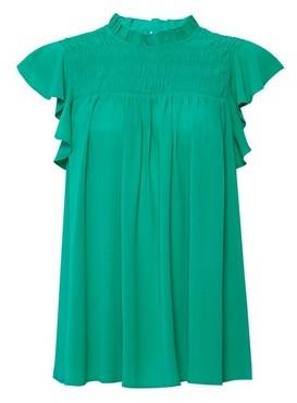 Dorothy Perkins Womens Green Shirred Ruffle Top, Green