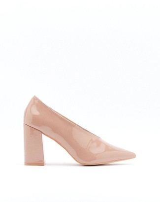 Nasty Gal Womens Part Two Tone Patent Faux Leather and Suede Court Heels - Beige - 4