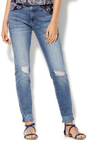 New York & Co. Soho Embroidered Cuff & Destroyed Relaxed Boyfriend Jeans - Indigo Blue Wash