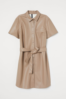 H&M Faux Leather Dress - Brown