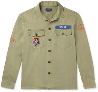 Polo Ralph Lauren Appliqued Embroidered Herringbone Cotton Overshirt
