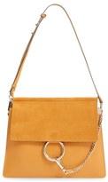 Chloé 'Medium Faye' Leather & Suede Shoulder Bag - Brown