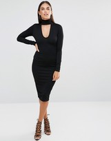 Club L Choker High Neck Crepe Detail Midi Dress