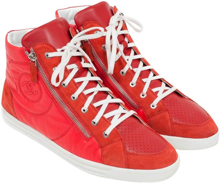 Chanel Red Leather Trainers