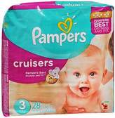 Pampers Cruisers Diapers Size 3, 16-28 lb - 4 packs of 28, Pack of 4