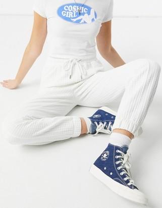Bershka waffle jogger co-ord in white