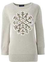 Classic Women's Tall Supima 3/4 Sleeve Intarsia Sweater-Black Snowflake