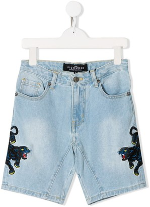 John Richmond Junior embroidered denim shorts