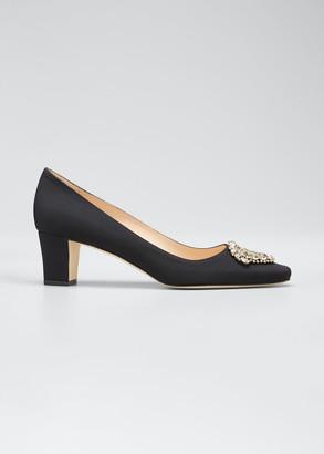 Manolo Blahnik Okkato Low-Heel Crepe Pumps, Black