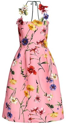 Oscar de la Renta Floral-Applique Halter Cocktail Dress